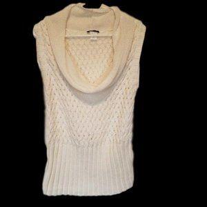 Venus -Sleeveless Cowl Neck Cream Sweater Size L